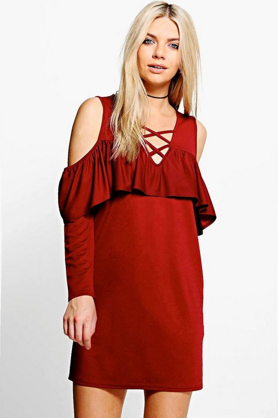Ash Lace Up Cold Shoulder Ruffle Shift Dress