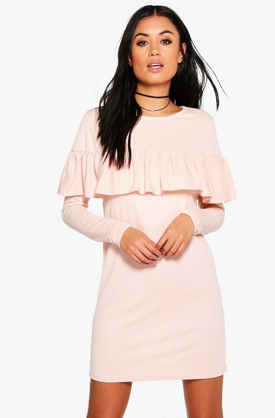 Ruffle Long Sleeved Shift Dress