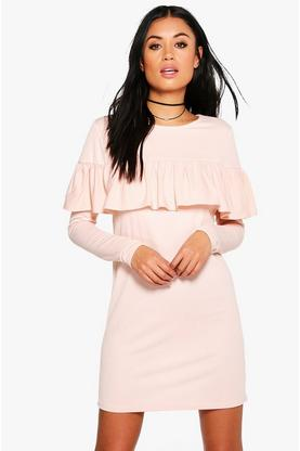 Coralie Ruffle Long Sleeved Shift Dress