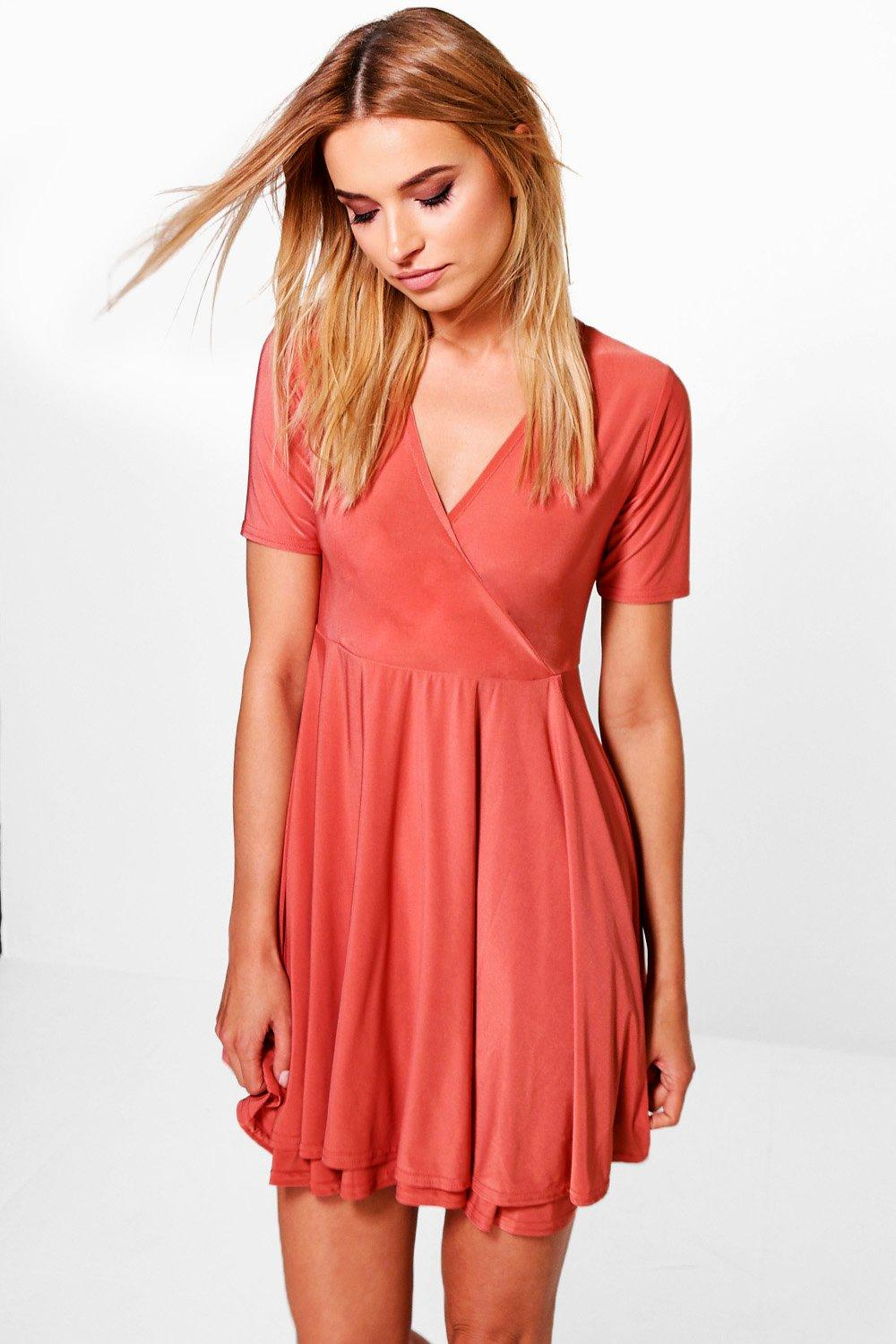 Ayra Slinky Wrap Skater Dress