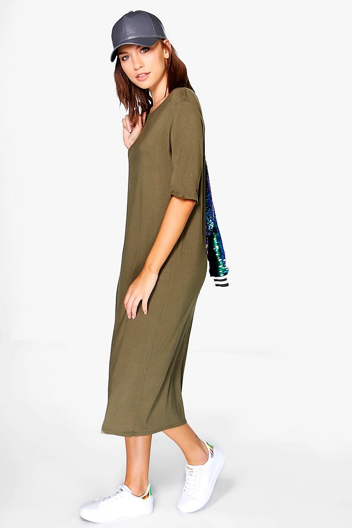 Cleo Oversized Drape Midi Dress