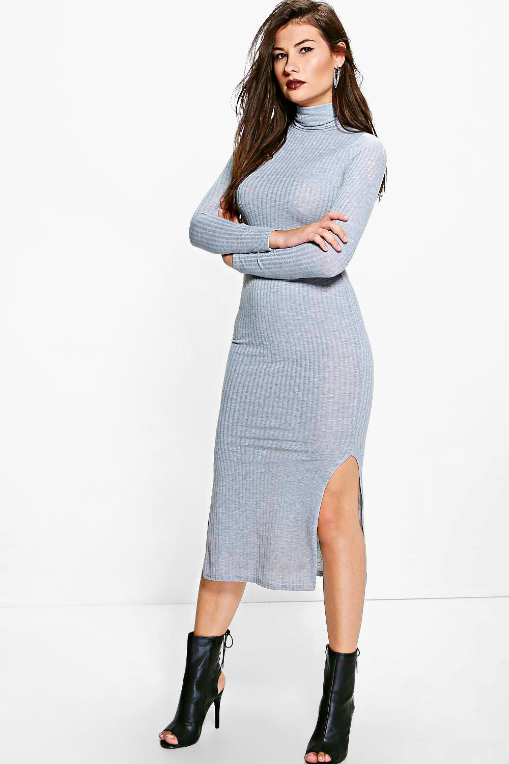 Ria Midaxi Ribbed Turtleneck Dress