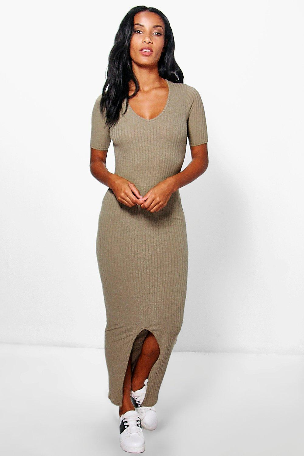 Bria Split Front Rib Midaxi Dress