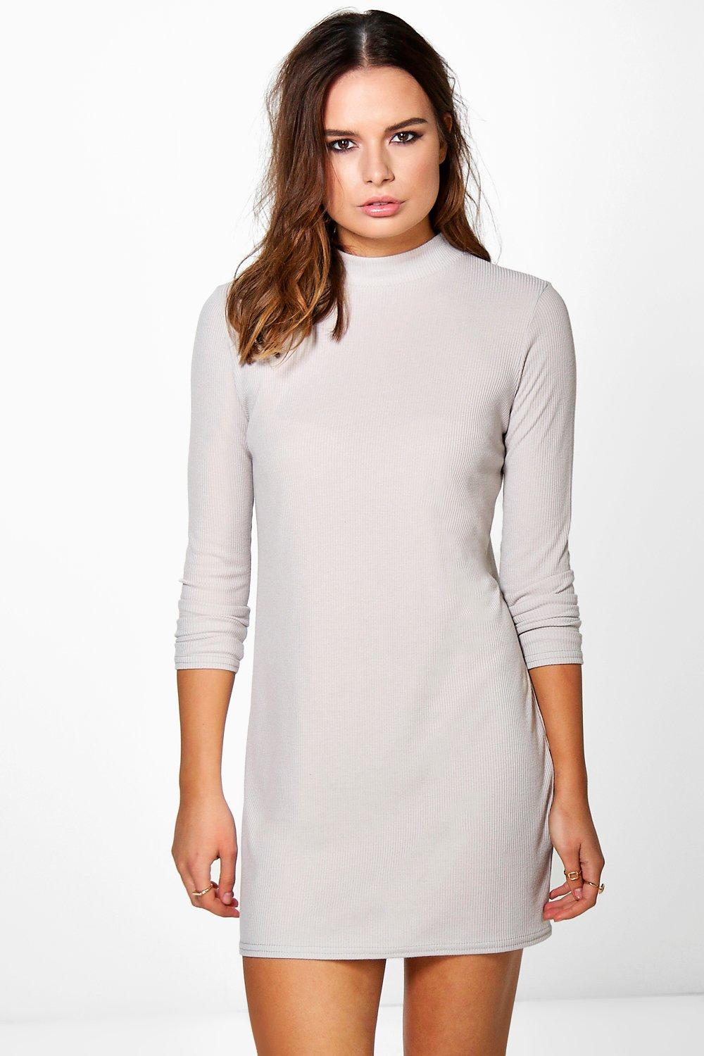 Scarlett High Neck Ribbed Shift Dress