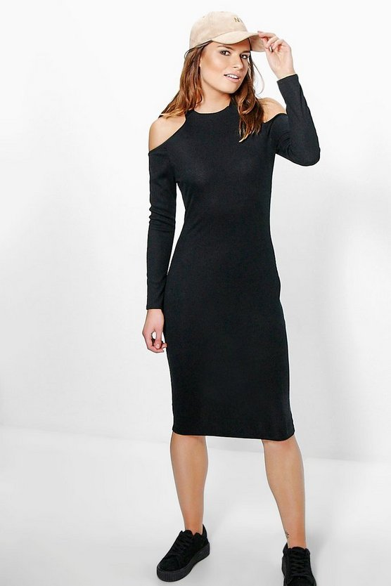 Phillippa Ribbed Cold Shoulder Midi Dress