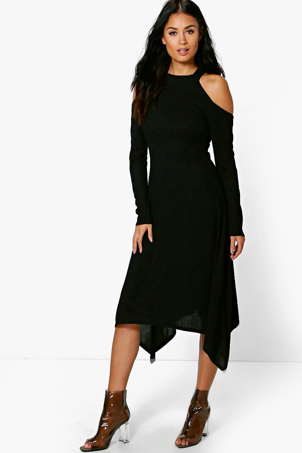 Cold Shoulder Asymmetric Rib Midaxi Dress  black