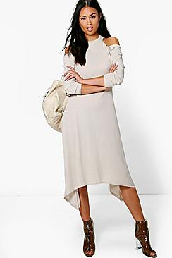 Jo Cold Shoulder Asymmetric Rib Midaxi Dress
