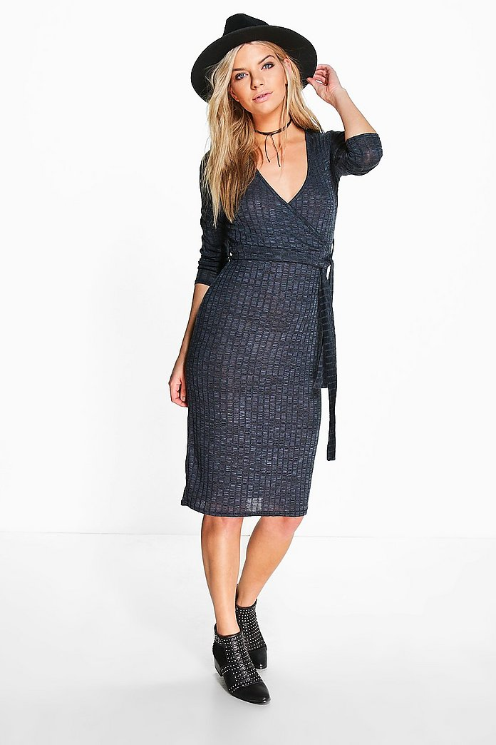 Kat Ribbed Bow Front Wrap Dress