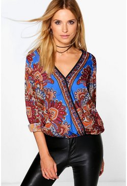 Louise Silky Paisley Wrap Front Oversized Shirt