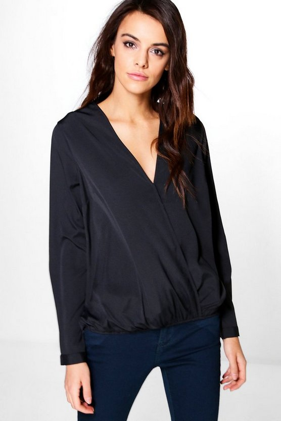 Sophia Oversized Wrap Over Woven Blouse