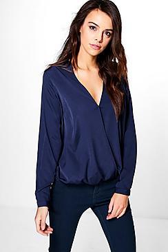 Sophia Übergroße Bluse aus Webmaterial mit Wickelung - Boohoo.com