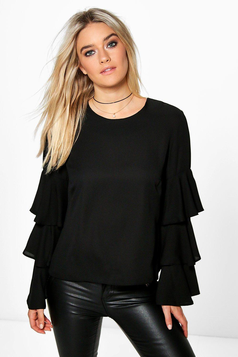 Alice Frill Sleeve Woven Blouse