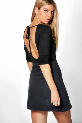 Caroline Long Sleeve Tie Open Back Top