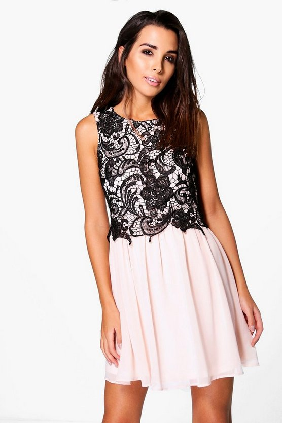Joley Corded Lace Top Chiffon Skater Dress