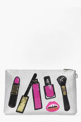 Holly Make Up Sequin Patch Clutch Bag