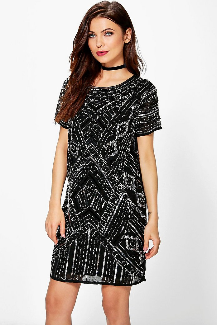 Boutique Di Embellished Cap Sleeve Shift Dress