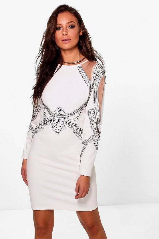 Boutique Michi Embellished Mesh Insert Dress