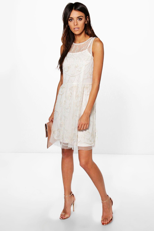 Product photo of Xanthe embellished skater dress blush
