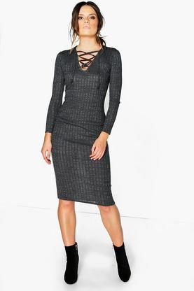 Sofia Ribbed Lace Front Bodycon Dress