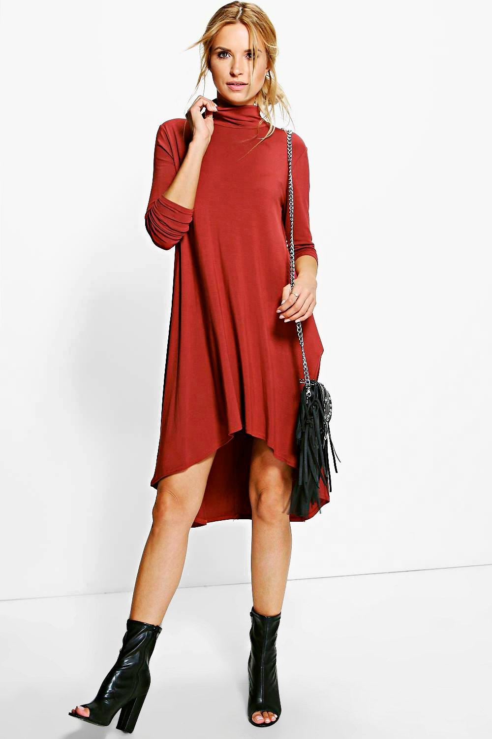 Amra Dipped Hem Roll Neck Swing Dress