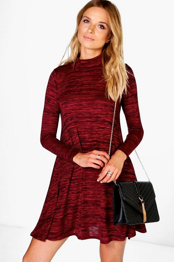 Hayley High Neck Marl Knit Swing Dress