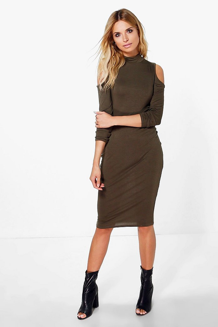 Stassy Cold Shoulder High Neck Midi Dress
