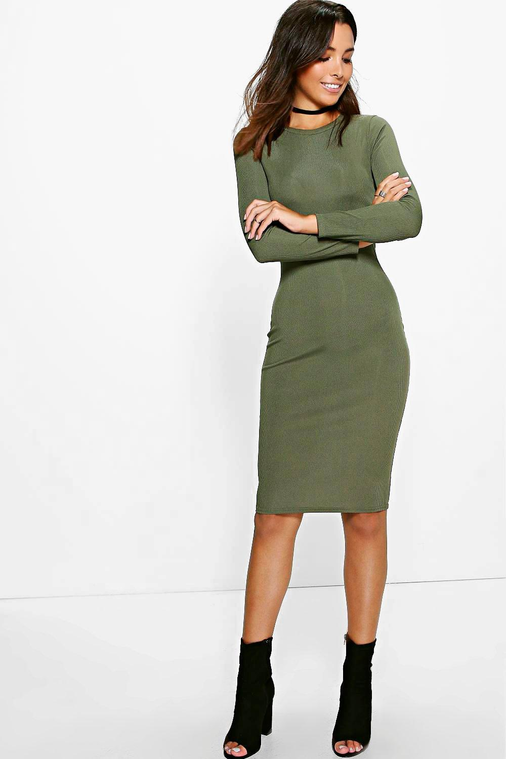 Constance Rib Long Sleeve Midi Dress