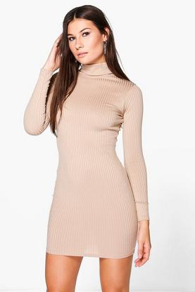 Ingrid Long Sleeved Ribbed Bodycon Dress