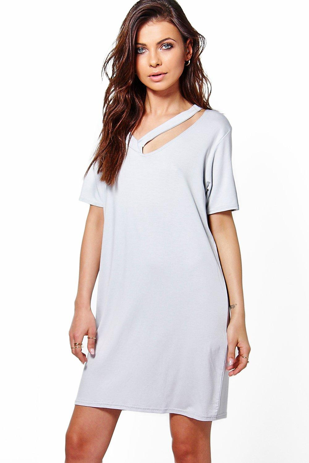 Loren Assymetric Neck Shift Dress