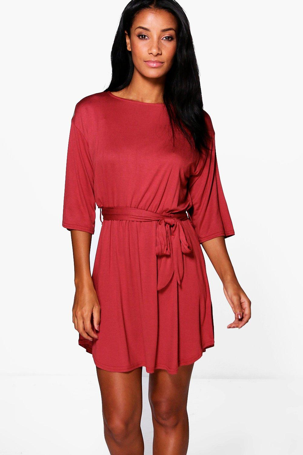 Camille Flare Sleeve Tie Waist Shift Dress