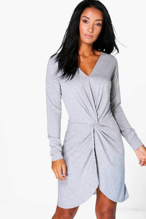 Rue Knot Wrap Long Sleeve Bodycon Dress