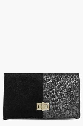 Mya Turn Look Faux Pony Mixed Texture Clutch