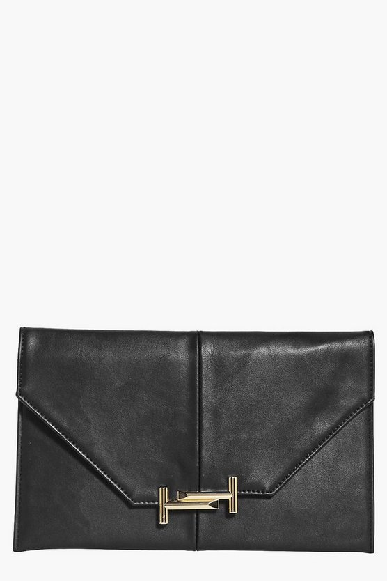 Niamh Metal Detail Envelope Clutch Bag