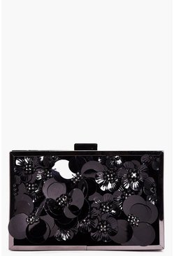 Julia Floral 3D Embellished Box Clutch Bag
