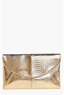 Eve Croc Metallic Envelope Clutch Bag