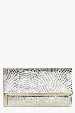 Lara Snake Effect Fold Over Clutch Bag