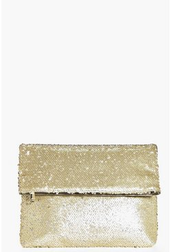 Mya Matte Sequin Fold Over Clutch Bag