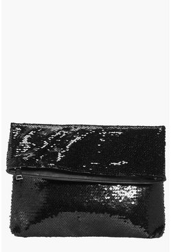 Darcy Fold Over Sequin Embellished Clutch Bag