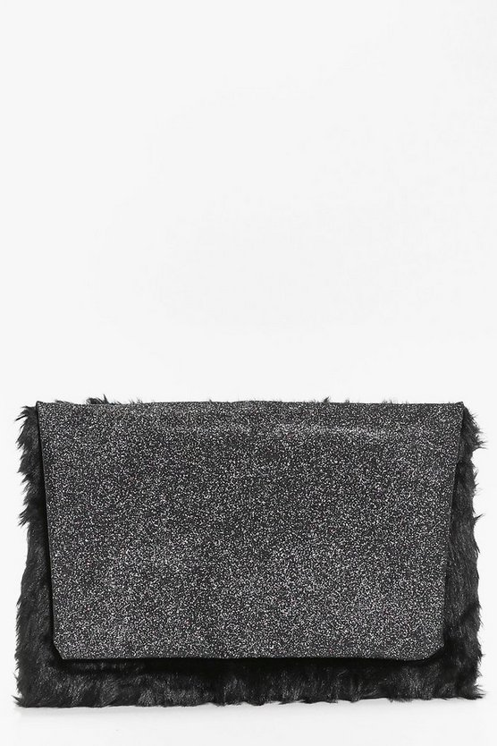 Lola Glitter and Faux Fur Clutch Bag