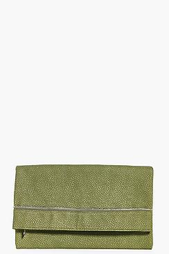 Leah Zip Detail Fold Over Clutch Bag