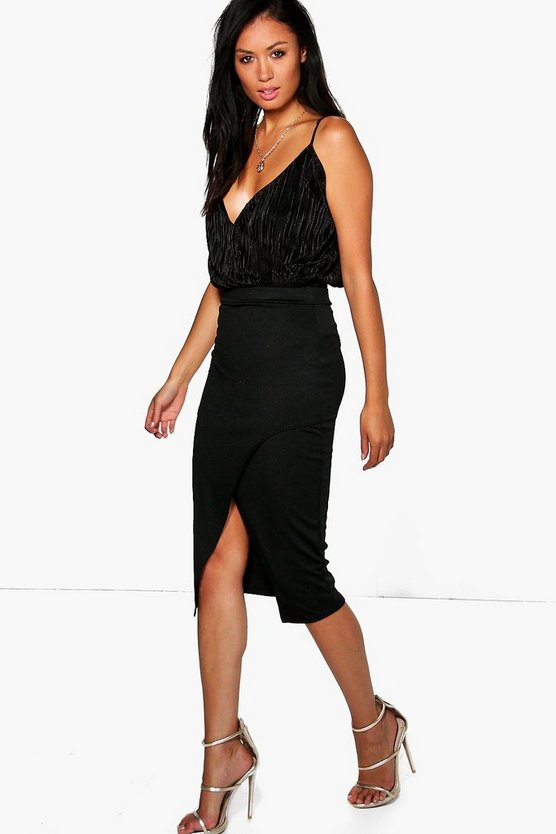 Gianna Wrap Split Front Midi Skirt