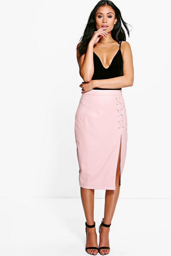 Carmel Lace Up Split Leather Look Midi Skirt