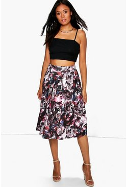 Lua Autumnal Print Box Pleat Midi Skirt
