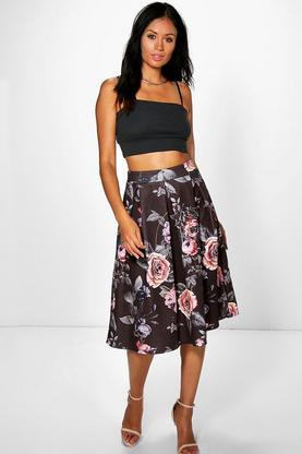 Marin Dark Floral Box Pleat Midi Skirt