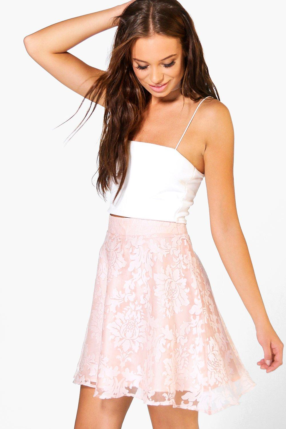 Laili Baroque Organza Skater Mini Skirt