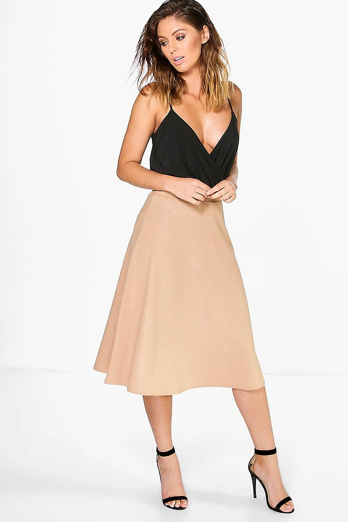 Aura Metallic Crepe Full Midi Skirt