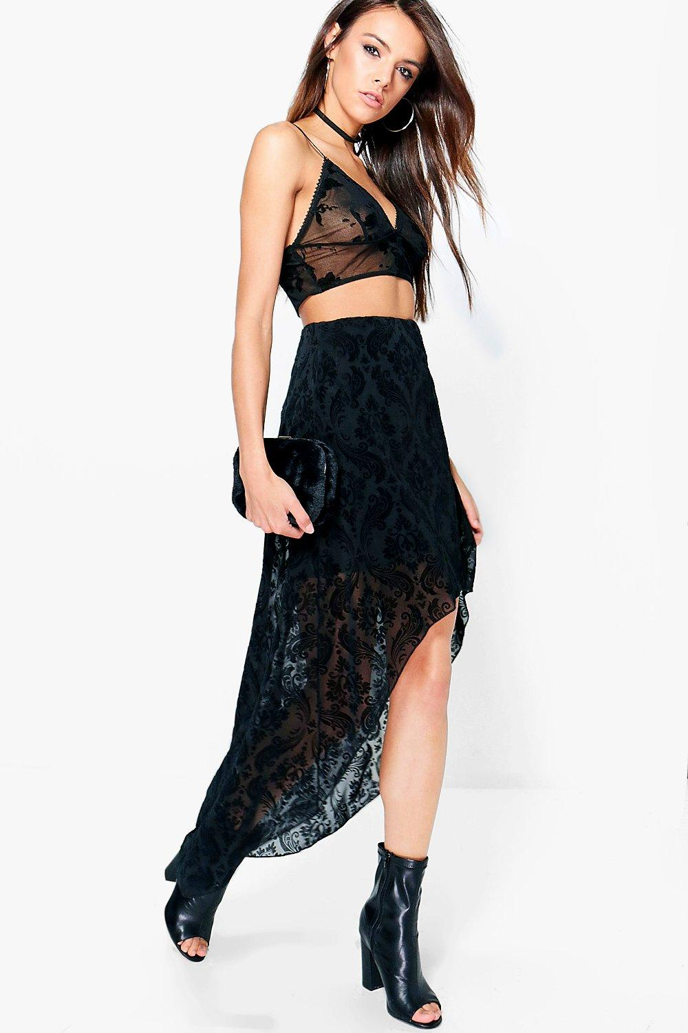 Paloma Velvet Baroque Mesh High Low Maxi Skirt
