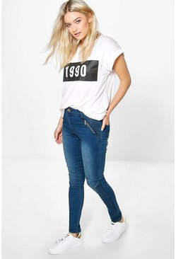 Darcy High Rise Biker Detail Skinny Jeans