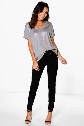 Nat Stretch Mid Rise Skinny Jeans