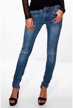 Rose Zip Detail Rip Jeans